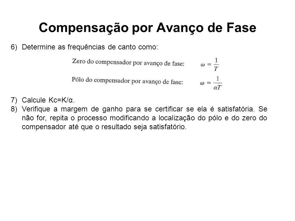 Compensação por Avanço de Fase 6)Determine as frequências de canto como: 7)Calcule Kc=K/α. 8)Verifique a margem de ganho para se certificar se ela é s