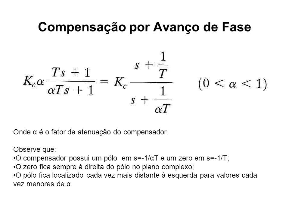 Compensação por Avanço de Fase Onde α é o fator de atenuação do compensador. Observe que: O compensador possui um pólo em s=-1/αT e um zero em s=-1/T;