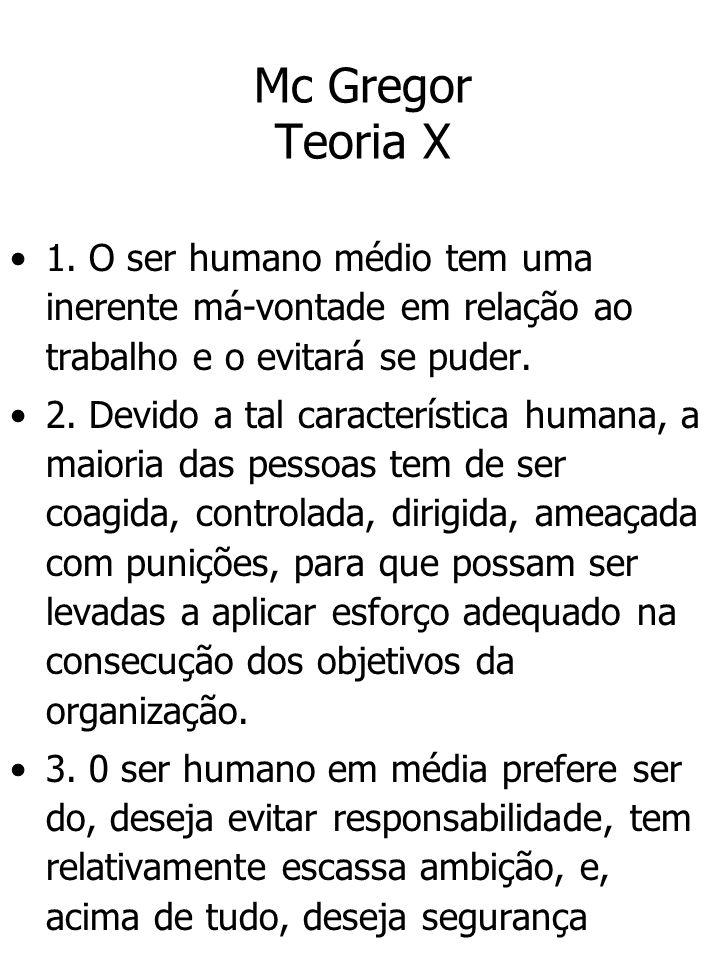 Mc Gregor Teoria X 1. O ser humano médio tem uma inerente má-vontade em relação ao trabalho e o evitará se puder. 2. Devido a tal característica human
