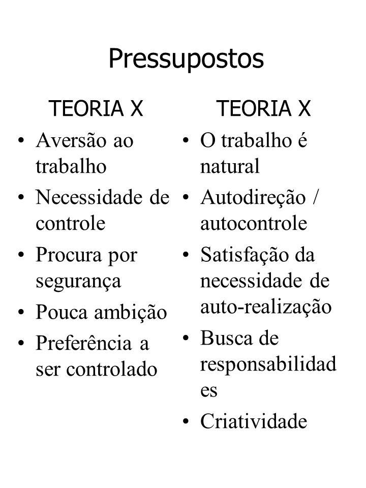 Pressupostos TEORIA X Aversão ao trabalho Necessidade de controle Procura por segurança Pouca ambição Preferência a ser controlado TEORIA X O trabalho