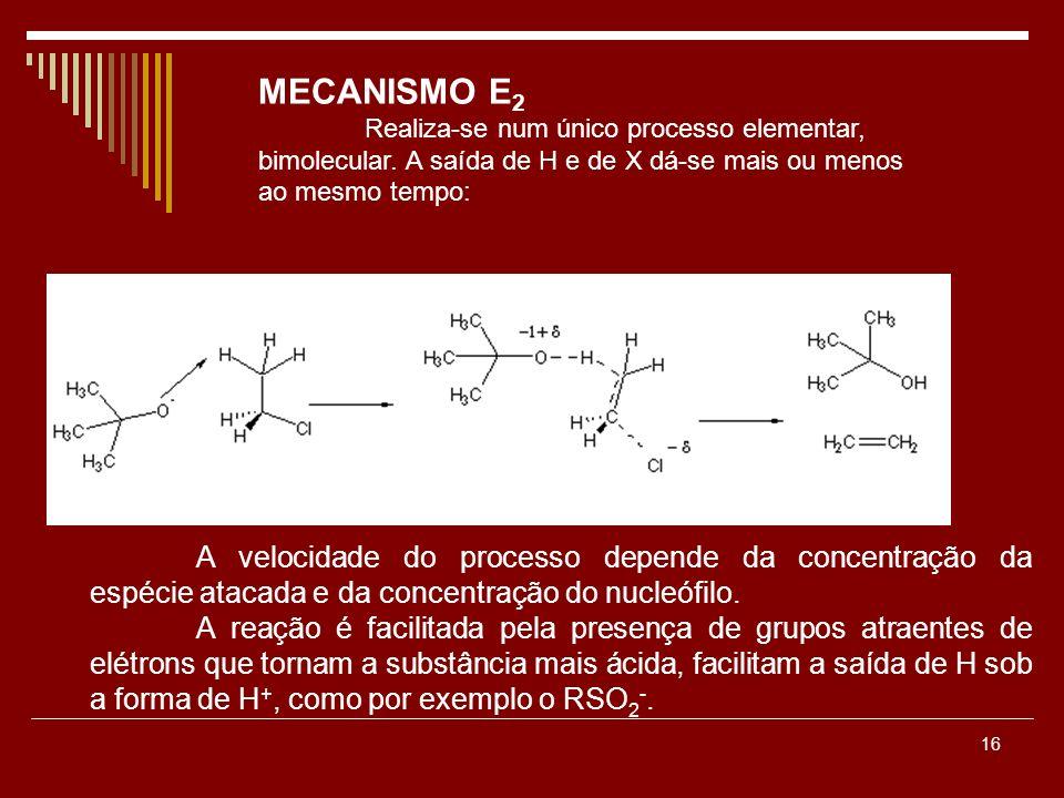 16 A velocidade do processo depende da concentração da espécie atacada e da concentração do nucleófilo. A reação é facilitada pela presença de grupos