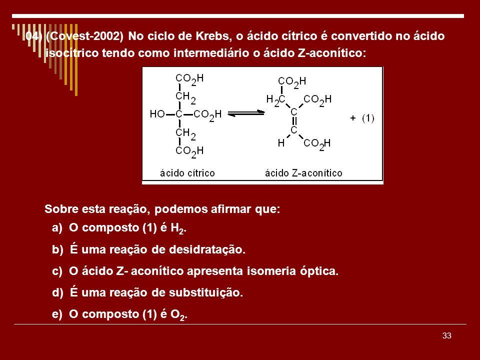33 04) (Covest-2002) No ciclo de Krebs, o ácido cítrico é convertido no ácido isocítrico tendo como intermediário o ácido Z-aconítico: Sobre esta reaç