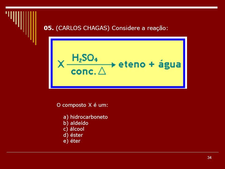 34 05. (CARLOS CHAGAS) Considere a reação: O composto X é um: a) hidrocarboneto b) aldeído c) álcool d) éster e) éter
