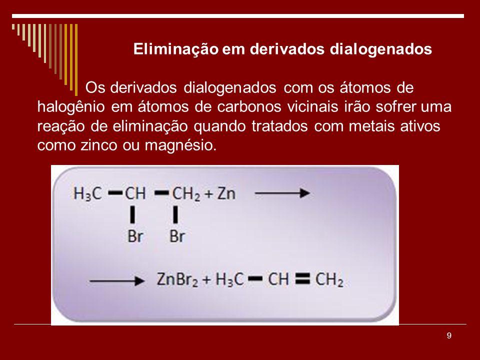 9 Eliminação em derivados dialogenados Os derivados dialogenados com os átomos de halogênio em átomos de carbonos vicinais irão sofrer uma reação de e