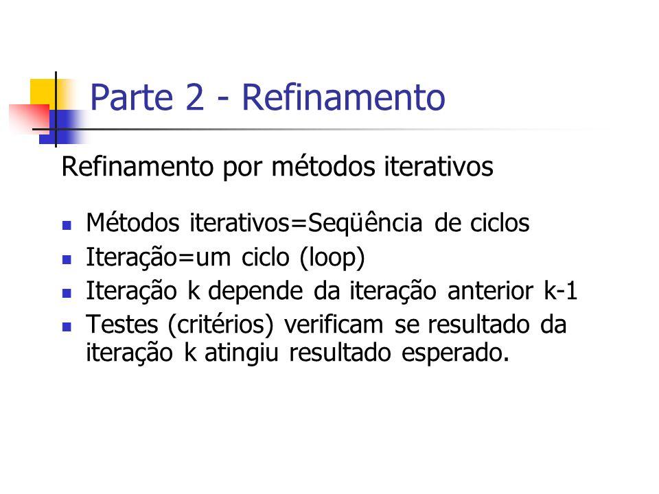 Parte 2 - Refinamento Refinamento por métodos iterativos Métodos iterativos=Seqüência de ciclos Iteração=um ciclo (loop) Iteração k depende da iteraçã