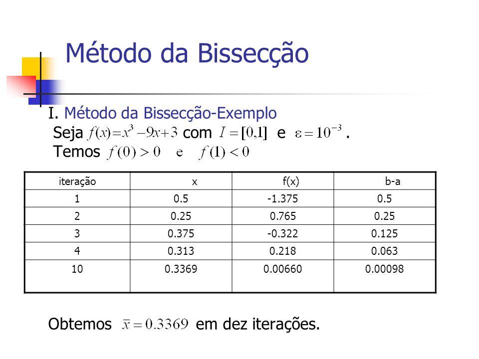 Método da Bissecção I. Método da Bissecção-Exemplo Seja com e. Temos Obtemos em dez iterações. iteração x f(x) b-a 10.5-1.3750.5 20.250.7650.25 30.375