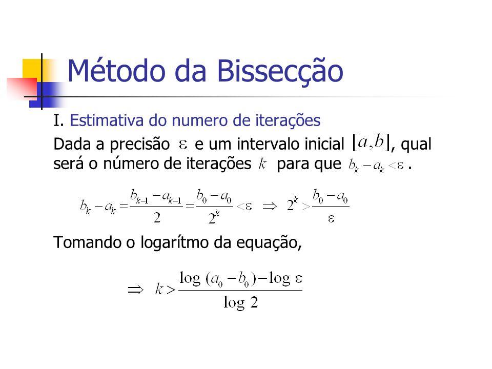 Método da Bissecção I. Estimativa do numero de iterações Dada a precisão e um intervalo inicial, qual será o número de iterações para que. Tomando o l