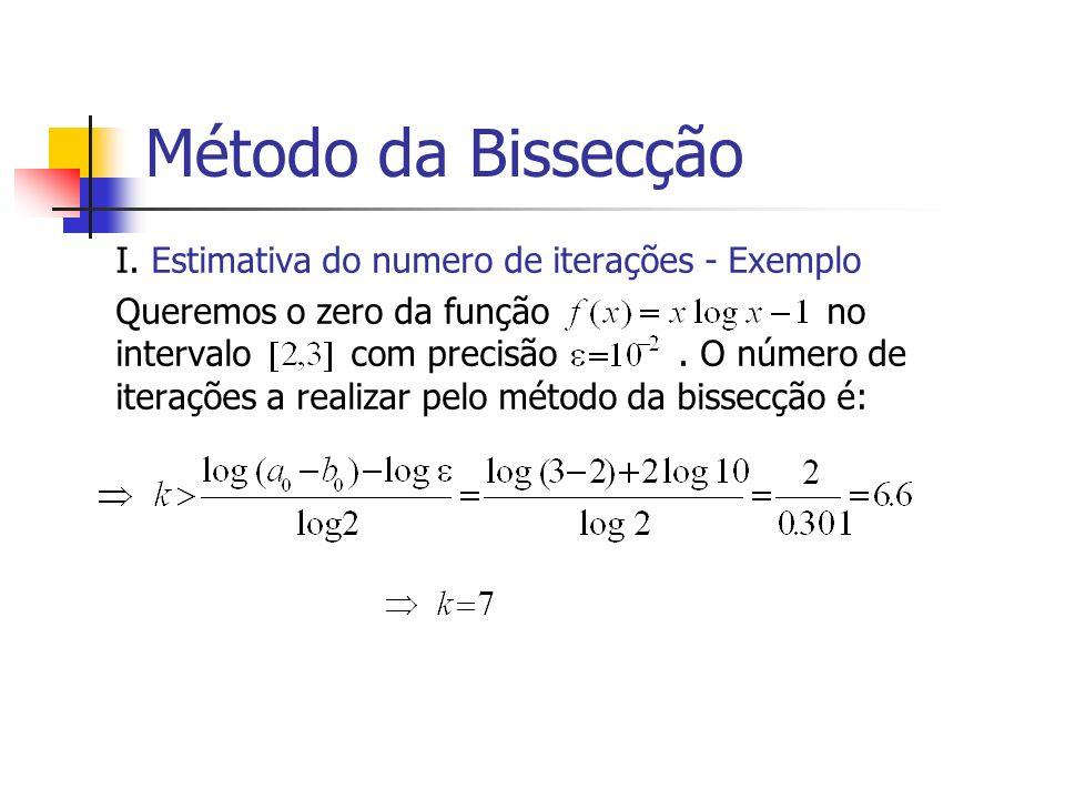 Método da Bissecção I. Estimativa do numero de iterações - Exemplo Queremos o zero da função no intervalo com precisão. O número de iterações a realiz