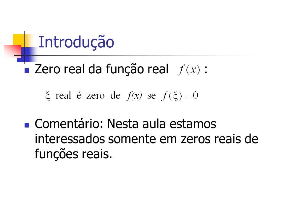 Introdução Graficamente, os zeros reais de são as abscissas dos pontos da intersecção da curva com eixo