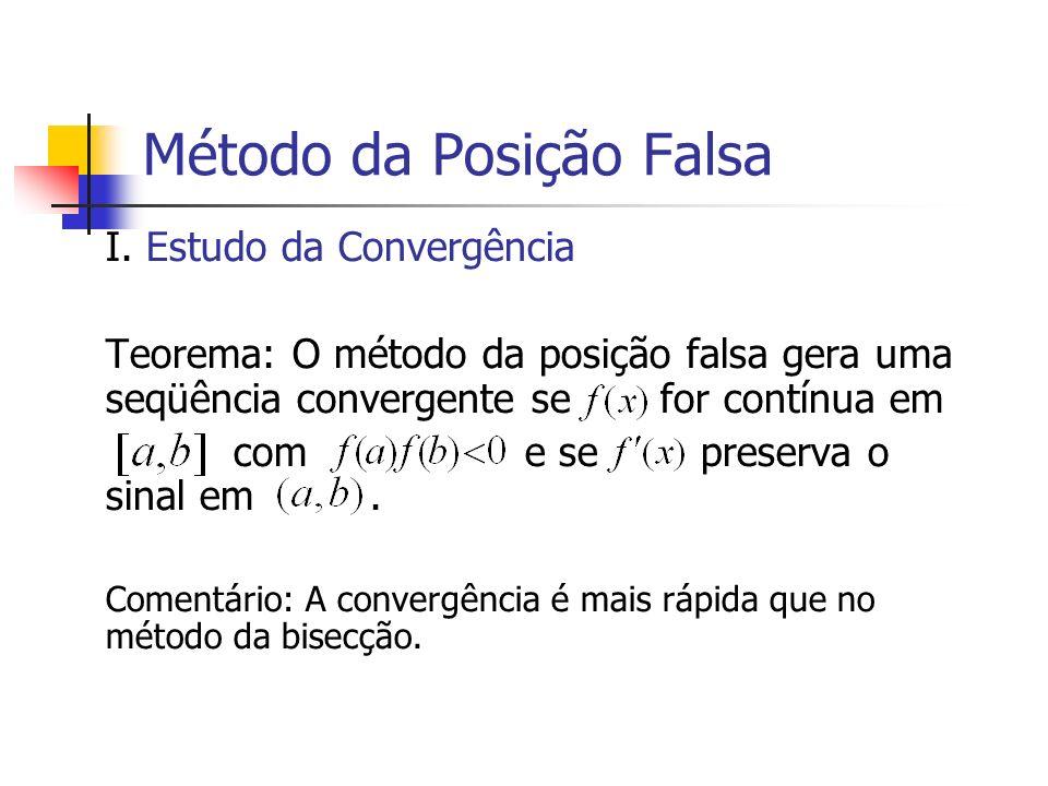 Método da Posição Falsa I. Estudo da Convergência Teorema: O método da posição falsa gera uma seqüência convergente se for contínua em com e se preser
