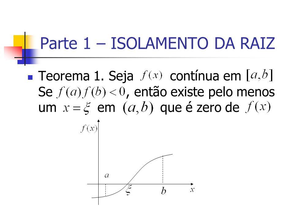 Parte 1 – ISOLAMENTO DA RAIZ Teorema 1. Seja contínua em Se, então existe pelo menos um em que é zero de