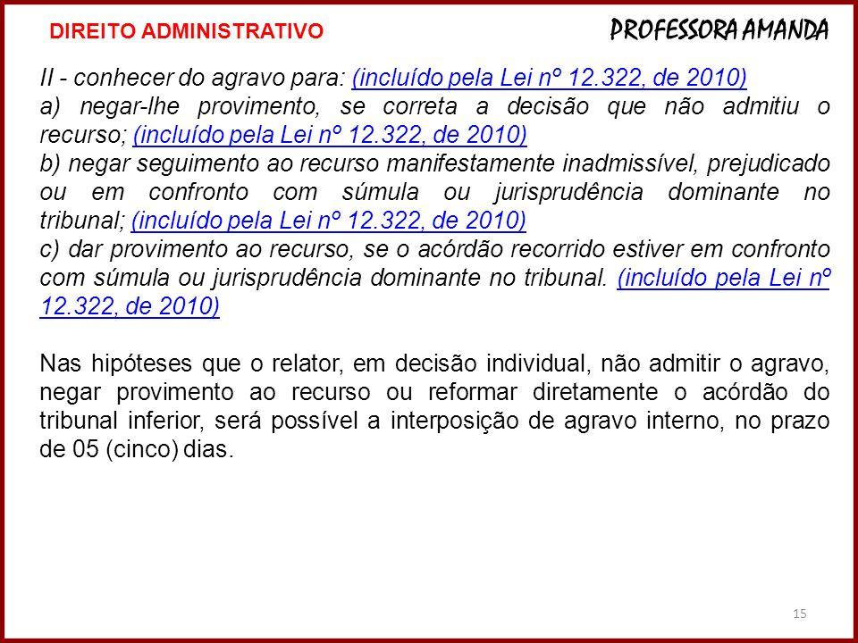 15 II - conhecer do agravo para: (incluído pela Lei nº 12.322, de 2010)(incluído pela Lei nº 12.322, de 2010) a) negar-lhe provimento, se correta a de