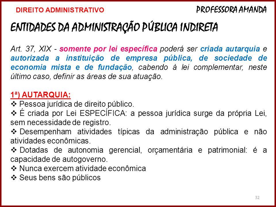32 ENTIDADES DA ADMINISTRAÇÃO PÚBLICA INDIRETA Art. 37, XIX - somente por lei específica poderá ser criada autarquia e autorizada a instituição de emp