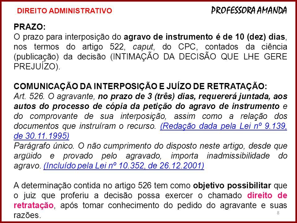 8 PRAZO: O prazo para interposição do agravo de instrumento é de 10 (dez) dias, nos termos do artigo 522, caput, do CPC, contados da ciência (publicaç