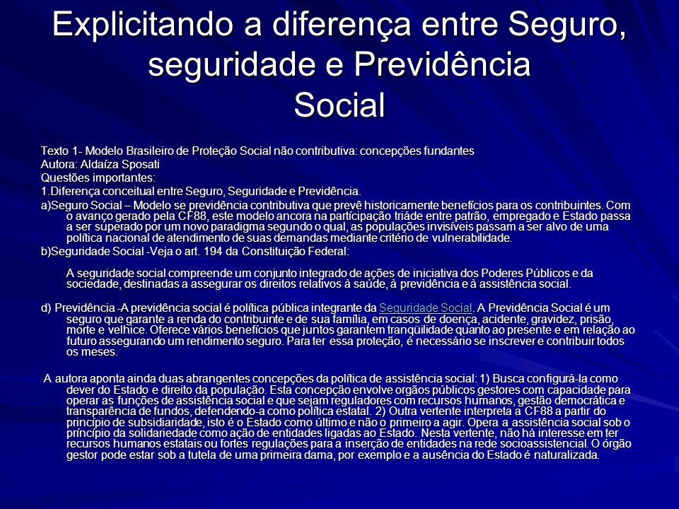 Explicitando a diferença entre Seguro, seguridade e Previdência Social Texto 1- Modelo Brasileiro de Proteção Social não contributiva: concepções fund