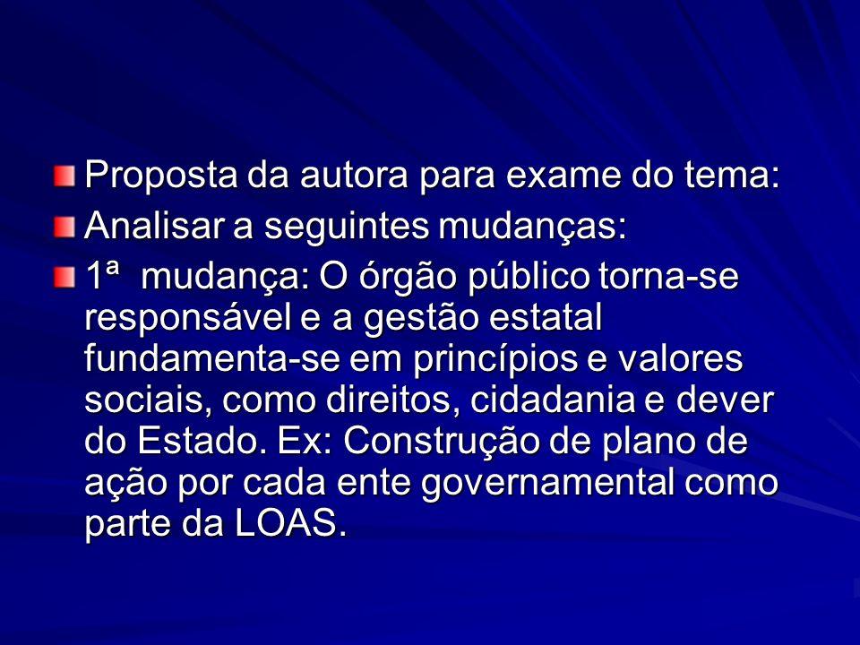Proposta da autora para exame do tema: Analisar a seguintes mudanças: 1ª mudança: O órgão público torna-se responsável e a gestão estatal fundamenta-s
