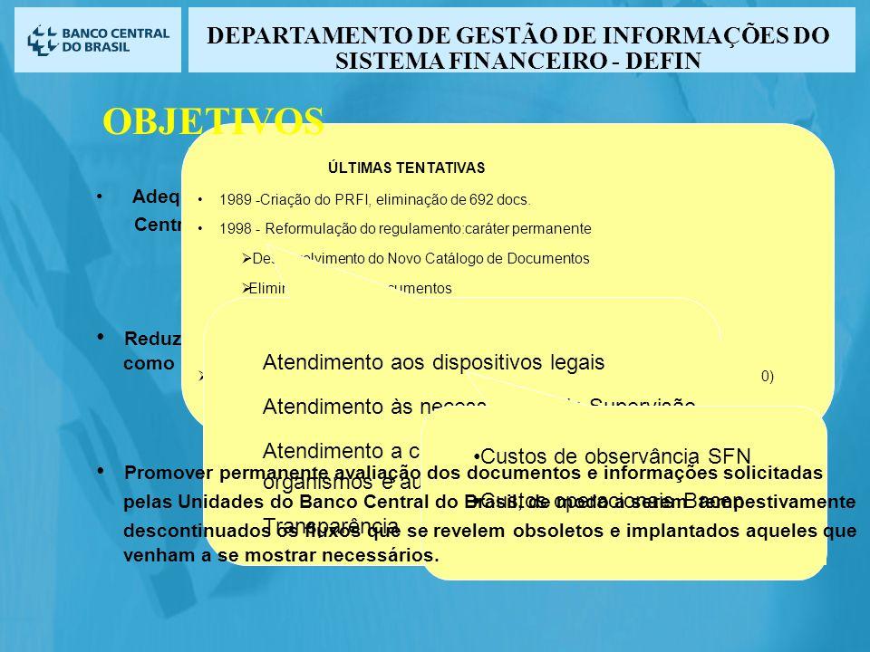 Adequar os fluxos de informações às efetivas necessidades do Banco Central do Brasil para o desempenho das funções a ele atribuídas. Reduzir os custos