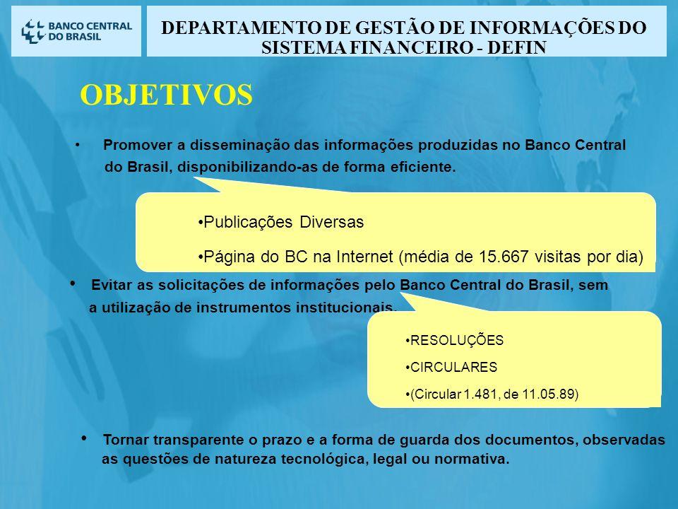 Evitar as solicitações de informações pelo Banco Central do Brasil, sem a utilização de instrumentos institucionais. Tornar transparente o prazo e a f