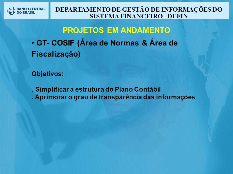 GT- COSIF (Área de Normas & Área de Fiscalização) Objetivos:. Simplificar a estrutura do Plano Contábil. Aprimorar o grau de transparência das informa