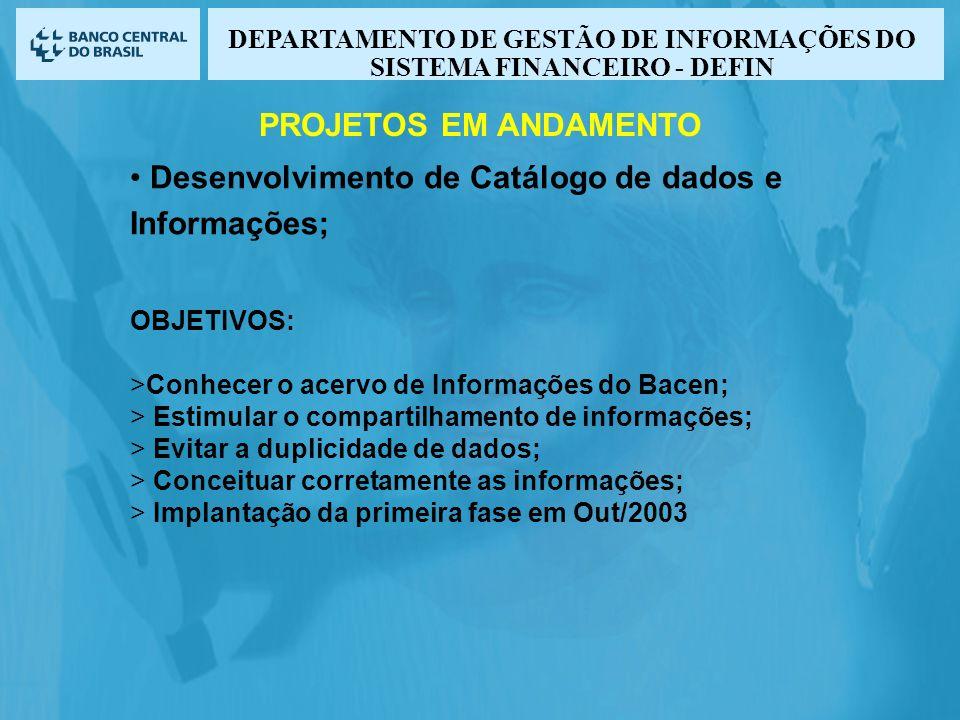 Desenvolvimento de Catálogo de dados e Informações; OBJETIVOS: >Conhecer o acervo de Informações do Bacen; > Estimular o compartilhamento de informações; > Evitar a duplicidade de dados; > Conceituar corretamente as informações; > Implantação da primeira fase em Out/2003 PROJETOS EM ANDAMENTO DEPARTAMENTO DE GESTÃO DE INFORMAÇÕES DO SISTEMA FINANCEIRO - DEFIN
