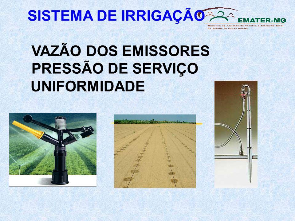 SISTEMA DE IRRIGAÇÃO VAZÃO DOS EMISSORES PRESSÃO DE SERVIÇO UNIFORMIDADE