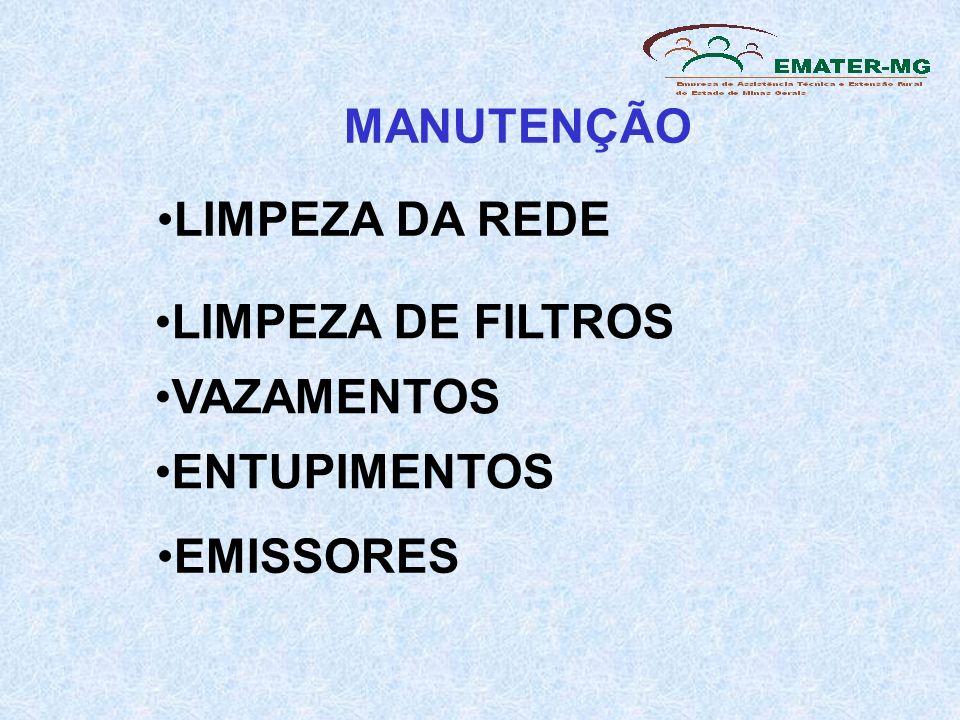 MANUTENÇÃO LIMPEZA DA REDE LIMPEZA DE FILTROS VAZAMENTOS ENTUPIMENTOS EMISSORES