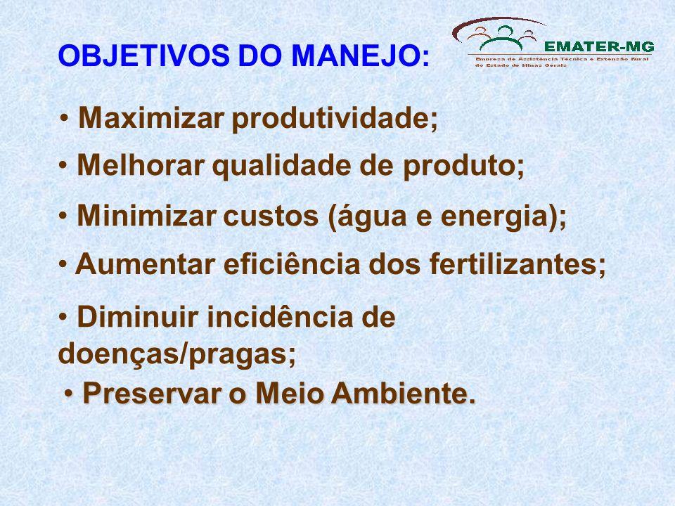 OBJETIVOS DO MANEJO: Melhorar qualidade de produto; Minimizar custos (água e energia); Aumentar eficiência dos fertilizantes; Diminuir incidência de d