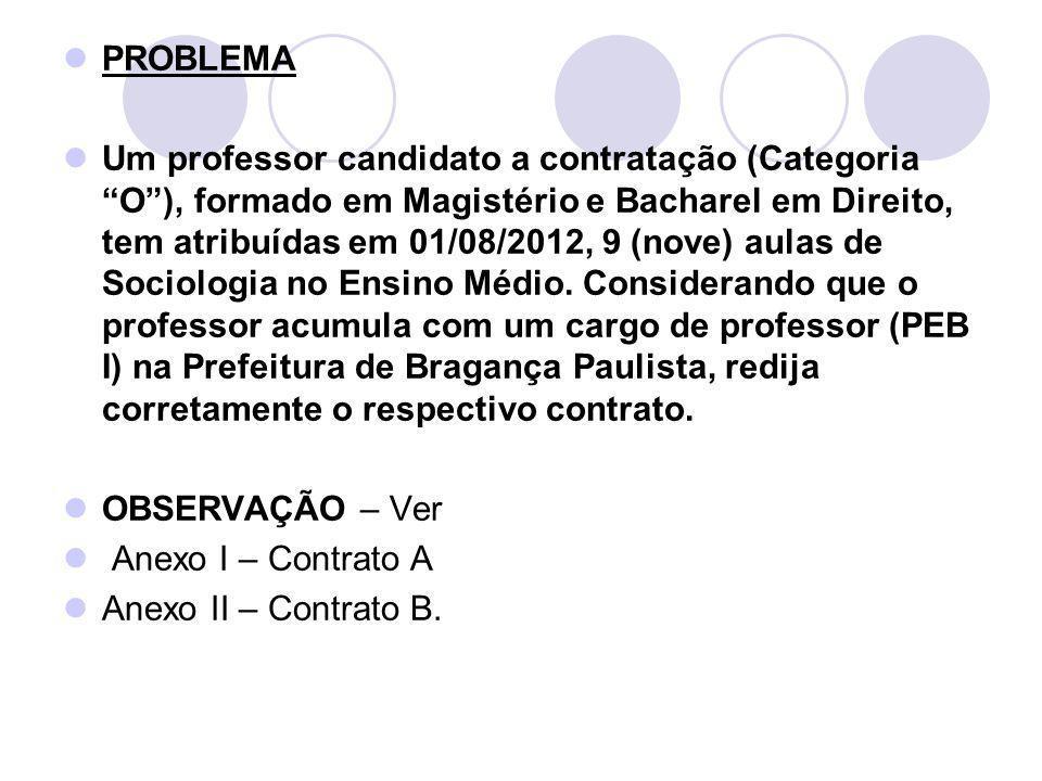 PROBLEMA Um professor candidato a contratação (Categoria O), formado em Magistério e Bacharel em Direito, tem atribuídas em 01/08/2012, 9 (nove) aulas