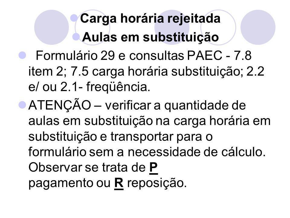 Carga horária rejeitada Aulas em substituição Formulário 29 e consultas PAEC - 7.8 item 2; 7.5 carga horária substituição; 2.2 e/ ou 2.1- freqüência.