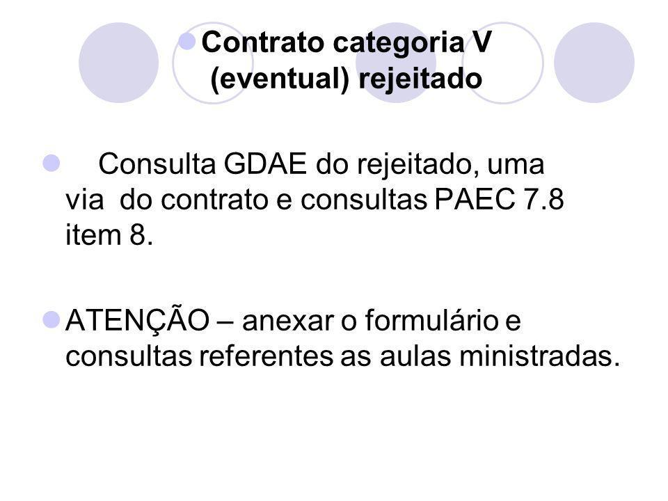 Contrato categoria V (eventual) rejeitado Consulta GDAE do rejeitado, uma via do contrato e consultas PAEC 7.8 item 8. ATENÇÃO – anexar o formulário e