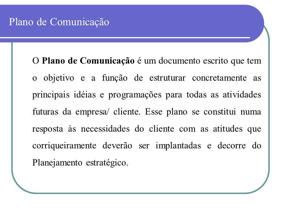 Plano de Comunicação O Plano de Comunicação é um documento escrito que tem o objetivo e a função de estruturar concretamente as principais idéias e pr