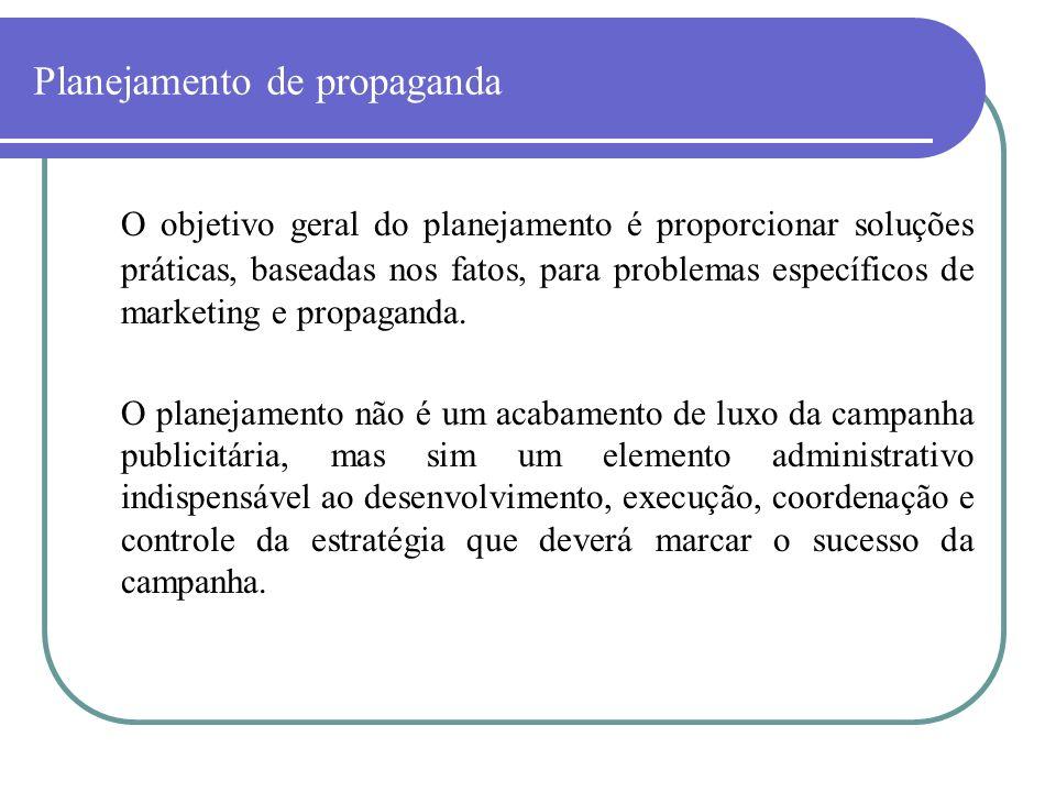 Planejamento de propaganda O objetivo geral do planejamento é proporcionar soluções práticas, baseadas nos fatos, para problemas específicos de market