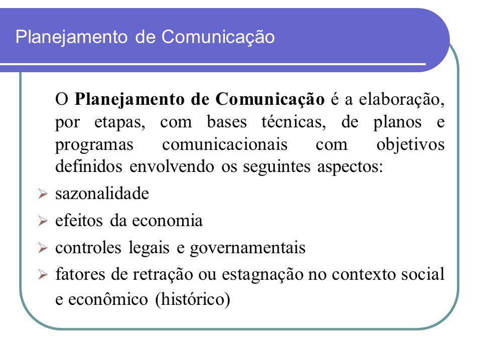 Planejamento de Comunicação O Planejamento de Comunicação é a elaboração, por etapas, com bases técnicas, de planos e programas comunicacionais com ob