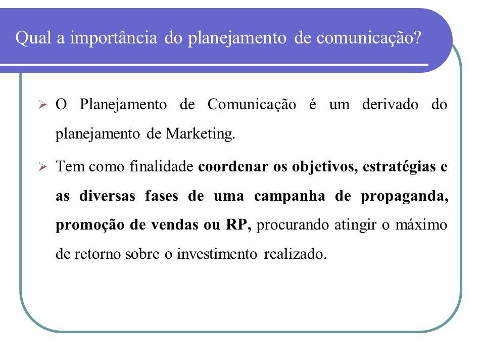 Qual a importância do planejamento de comunicação? O Planejamento de Comunicação é um derivado do planejamento de Marketing. Tem como finalidade coord