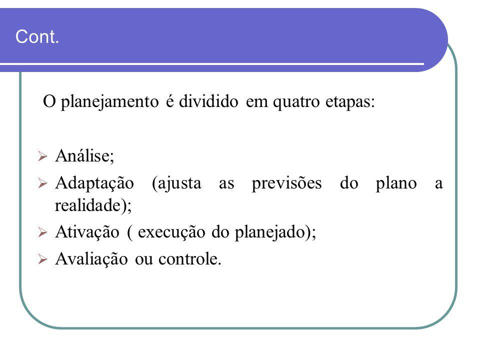 Cont. O planejamento é dividido em quatro etapas: Análise; Adaptação (ajusta as previsões do plano a realidade); Ativação ( execução do planejado); Av