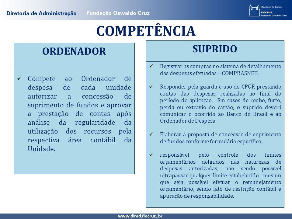 COMPETÊNCIA Compete ao Ordenador de despesa de cada unidade autorizar a concessão de suprimento de fundos e aprovar a prestação de contas após análise