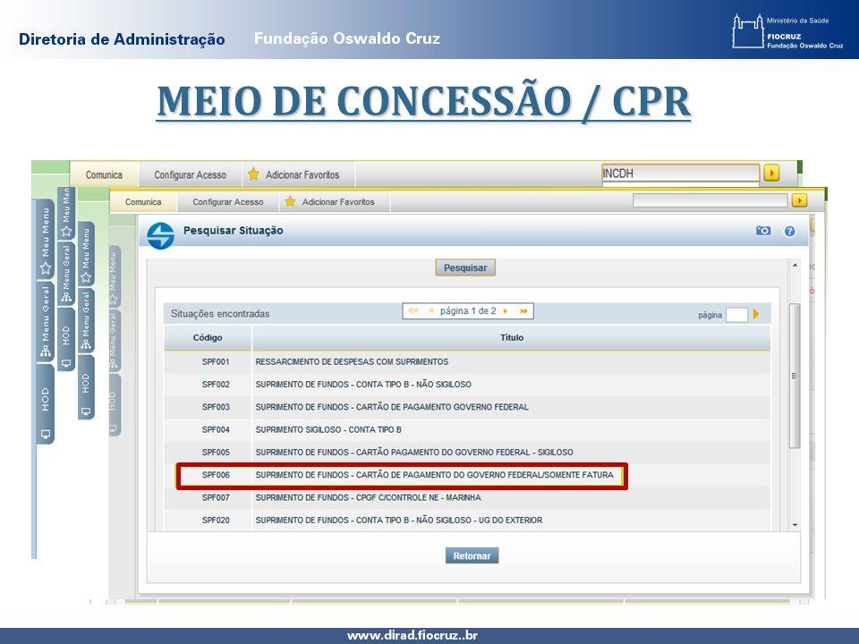 MEIO DE CONCESSÃO / CPR