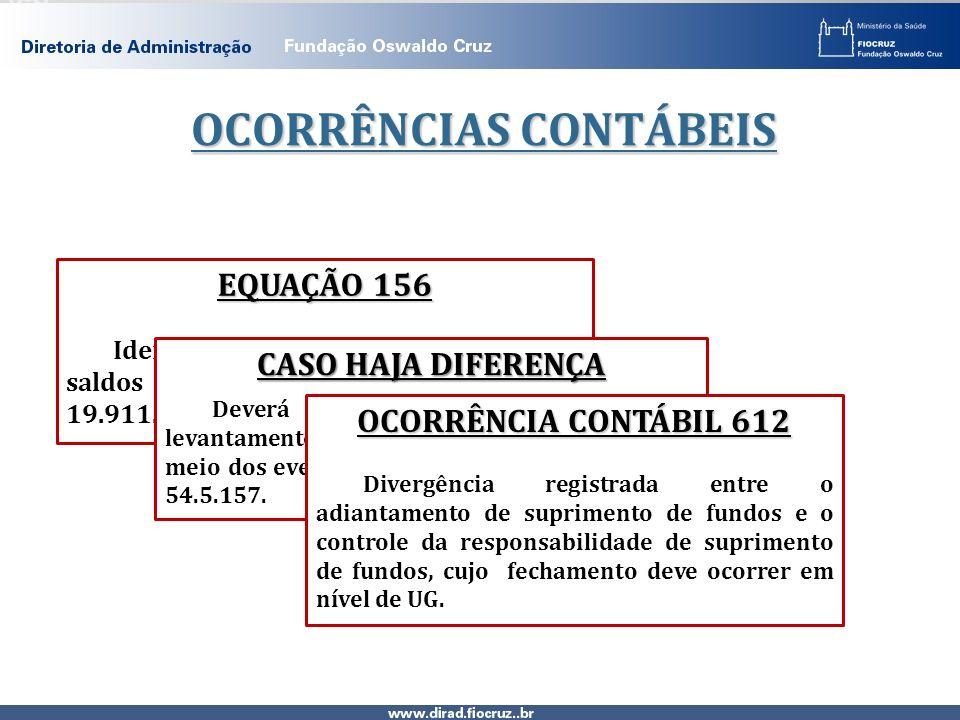 OCORRÊNCIAS CONTÁBEIS EQUAÇÃO 156 Identificando possíveis diferenças nos saldos das contas: 11.244.00.00 e 19.911.06.00. CASO HAJA DIFERENÇA Deverá se
