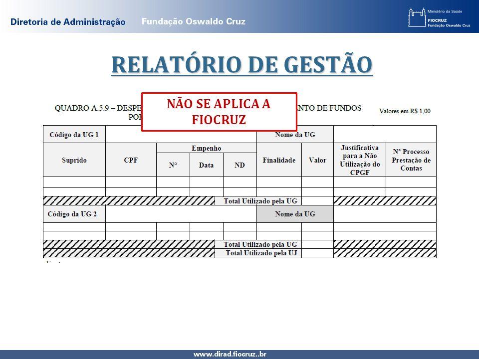 RELATÓRIO DE GESTÃO NÃO SE APLICA A FIOCRUZ