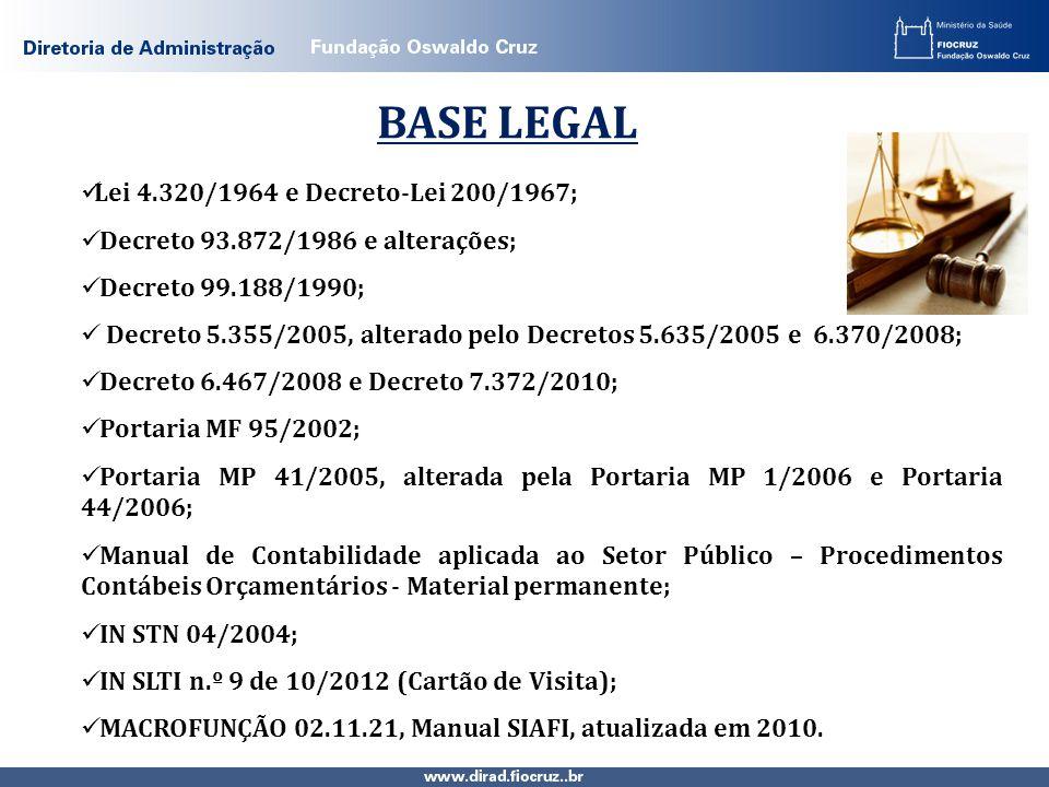 BASE LEGAL Lei 4.320/1964 e Decreto-Lei 200/1967; Decreto 93.872/1986 e alterações; Decreto 99.188/1990; Decreto 5.355/2005, alterado pelo Decretos 5.