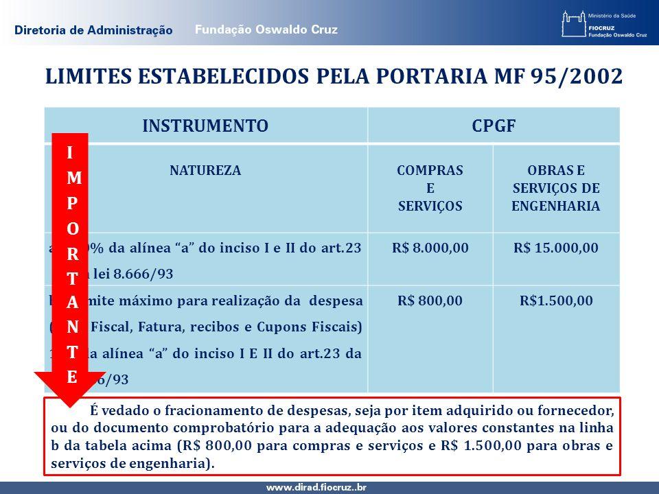 LIMITES ESTABELECIDOS PELA PORTARIA MF 95/2002 INSTRUMENTOCPGF NATUREZACOMPRAS E SERVIÇOS OBRAS E SERVIÇOS DE ENGENHARIA a)10% da alínea a do inciso I