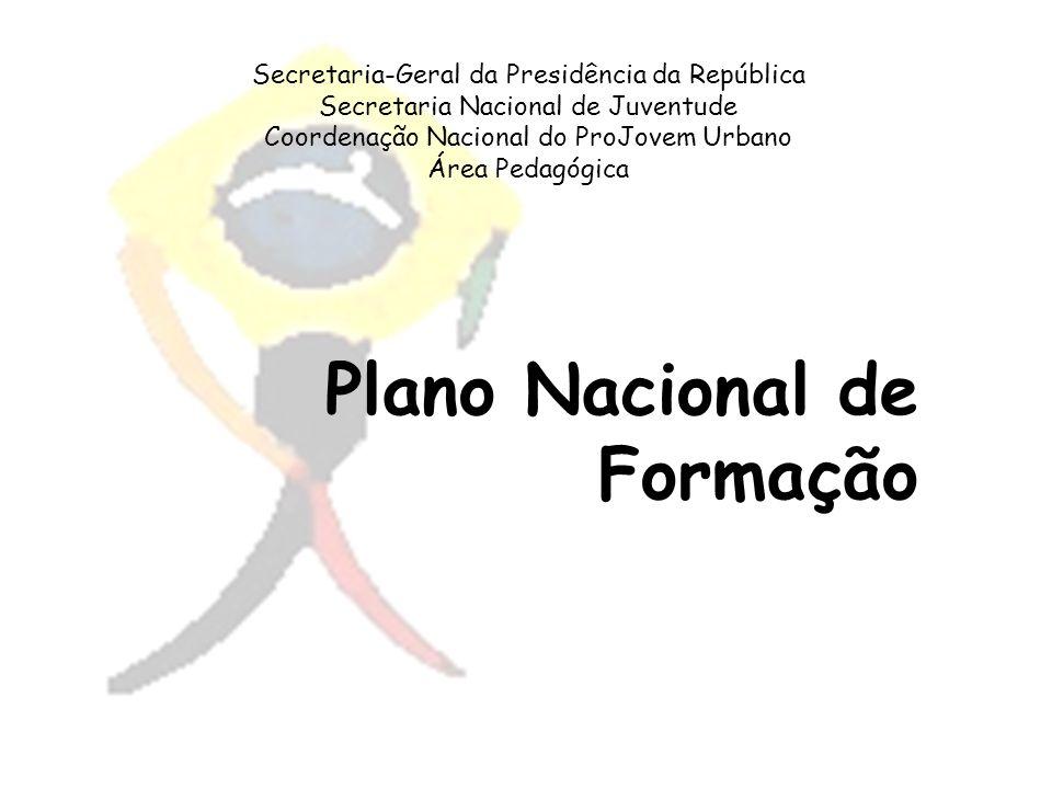 Secretaria-Geral da Presidência da República Secretaria Nacional de Juventude Coordenação Nacional do ProJovem Urbano Área Pedagógica Plano Nacional d