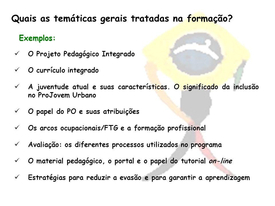 Exemplos: O Projeto Pedagógico Integrado O currículo integrado A juventude atual e suas características. O significado da inclusão no ProJovem Urbano
