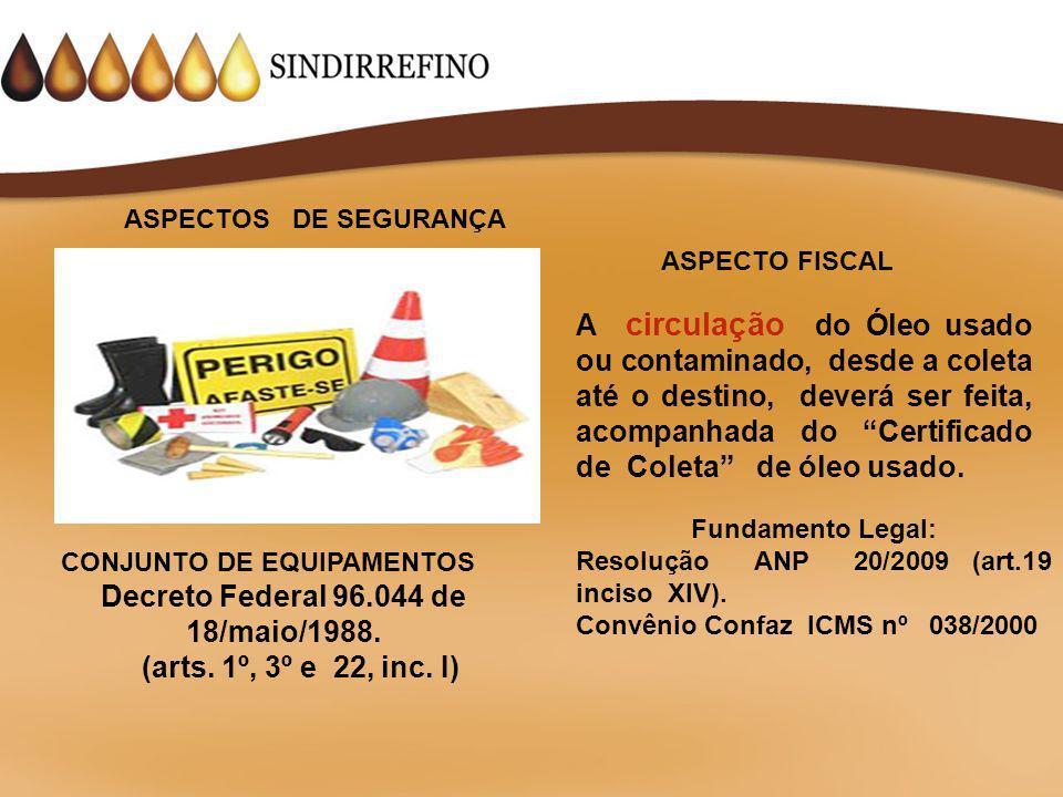 Classe 9– Substâncias Perigosas Diversas 90 3082 NÚMERO DE RISCO NÚMERO DA ONU Decreto Federal nº 96.044 de 18 de maio de 1988.