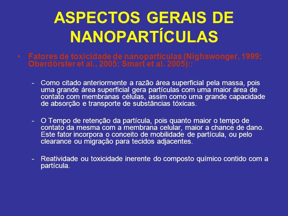ASPECTOS GERAIS DE NANOPARTÍCULAS Fatores de toxicidade de nanopartículas (Nighswonger, 1999; Oberdörster et al., 2005; Smart et al. 2005):: -Como cit