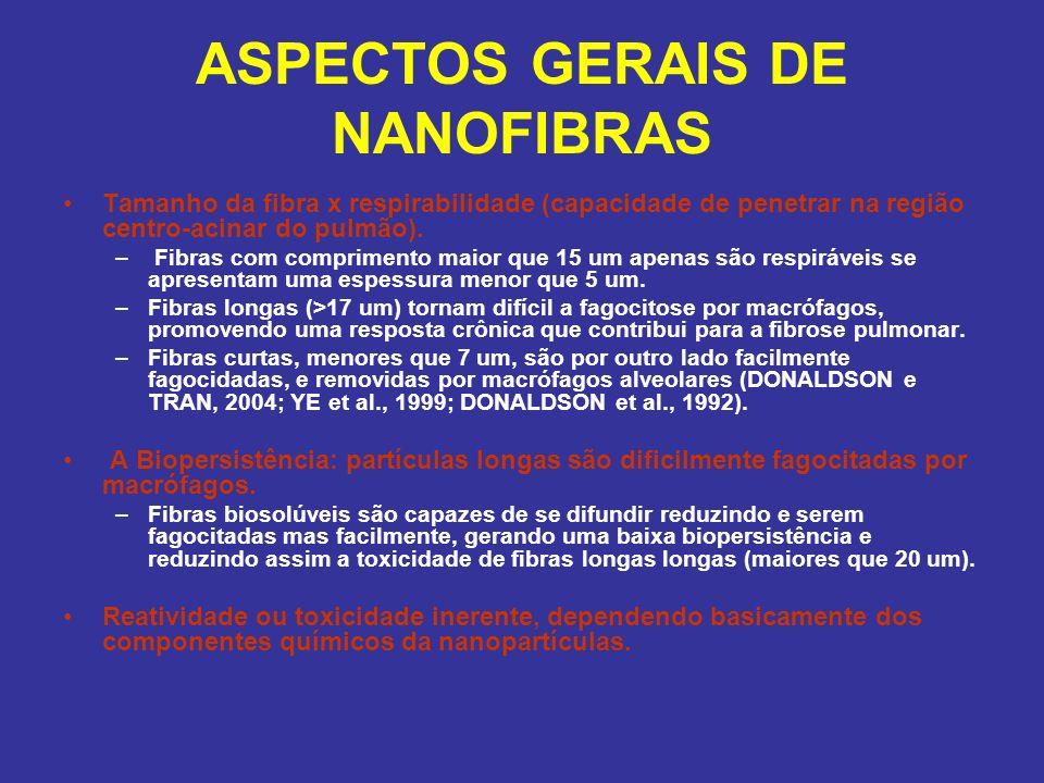 ASPECTOS GERAIS DE NANOFIBRAS Tamanho da fibra x respirabilidade (capacidade de penetrar na região centro-acinar do pulmão). – Fibras com comprimento