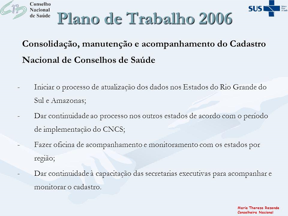 Maria Thereza Rezende Conselheira Nacional Plano de Trabalho 2006 Consolidação, manutenção e acompanhamento do Cadastro Nacional de Conselhos de Saúde