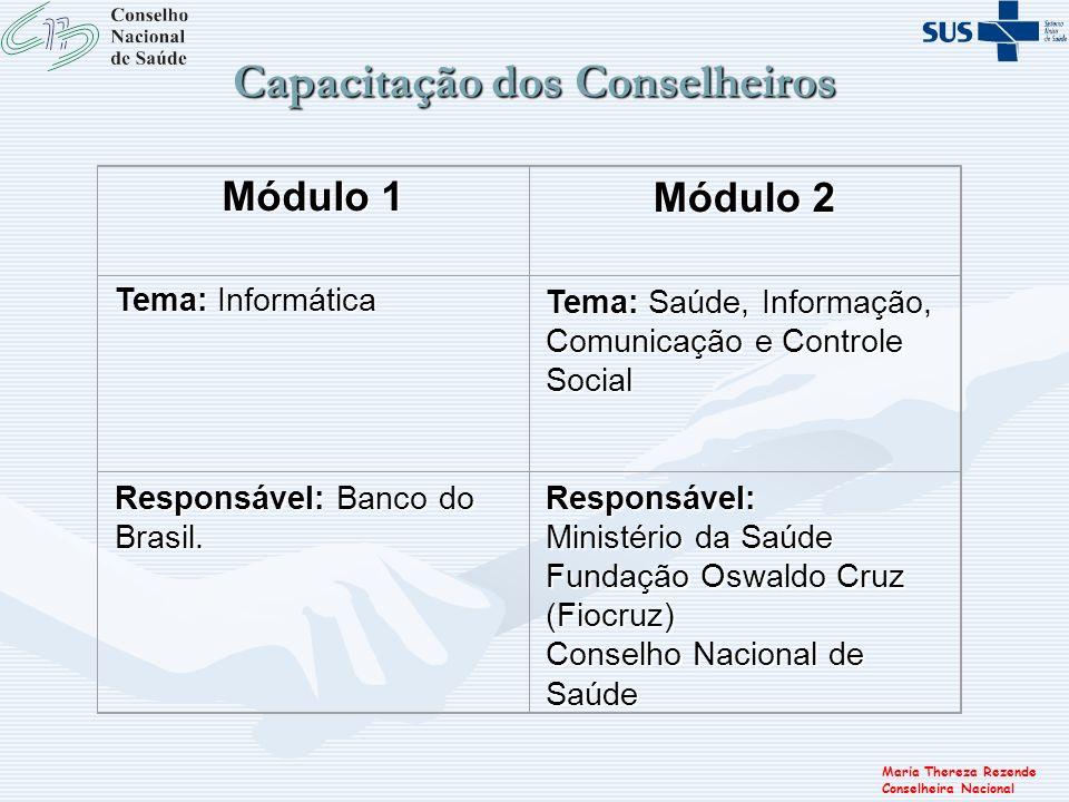Maria Thereza Rezende Conselheira Nacional Capacitação dos Conselheiros Módulo 1 Módulo 2 Tema: Informática Tema: Saúde, Informação, Comunicação e Con