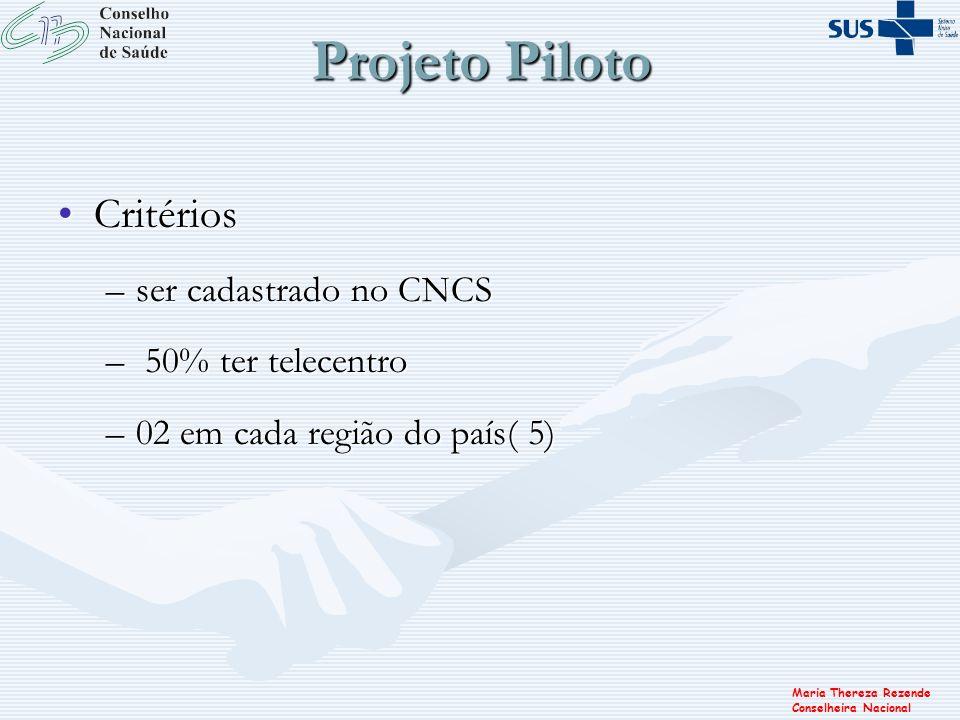 Maria Thereza Rezende Conselheira Nacional Projeto Piloto CritériosCritérios –ser cadastrado no CNCS – 50% ter telecentro –02 em cada região do país(