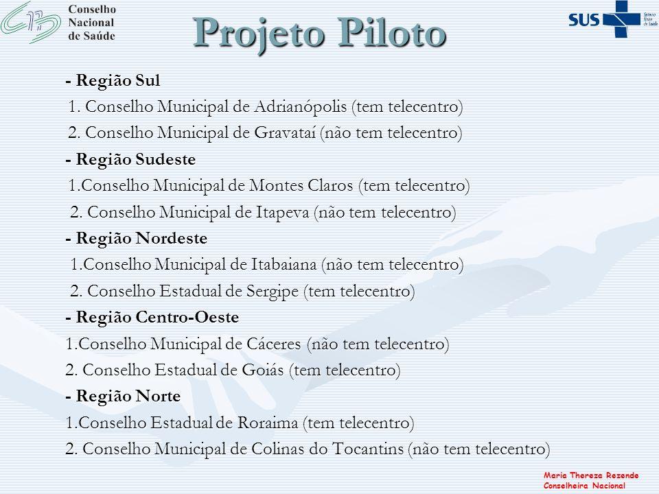 Maria Thereza Rezende Conselheira Nacional Projeto Piloto - Região Sul 1. Conselho Municipal de Adrianópolis (tem telecentro) 1. Conselho Municipal de